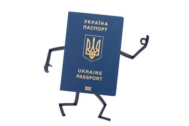 손과 발이 그려진 우크라이나 여권은 제스처를 보여줍니다.