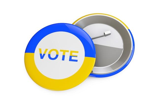 Концепция голосования украины. значок с флагом украины и знак голосования на белом фоне 3d-рендеринга