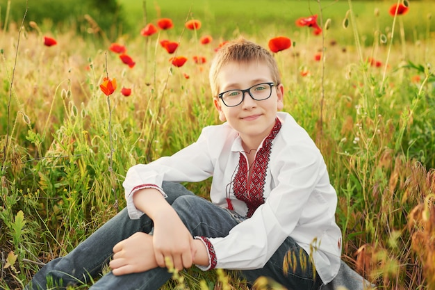 Ukrainian boy in embroidery with poppies in a poppy field in the summer at sunset
