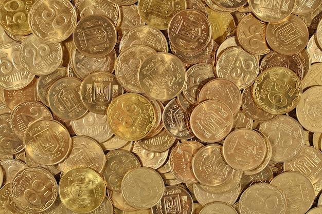 우크라이나 동전을 배경으로 닫습니다.