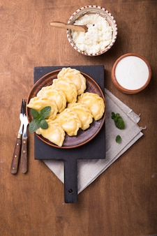 Ukrainian dumplings served with cottage cheese