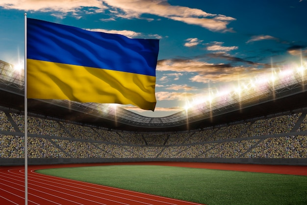 Ukrainian flag in front of a track and field stadium with fans.