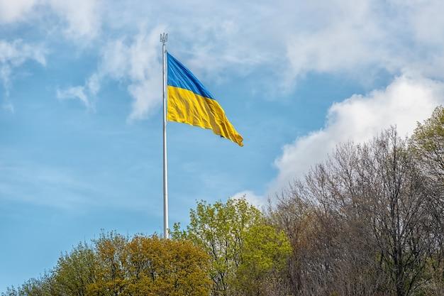 Украинский флаг развевается на ветру против неба.