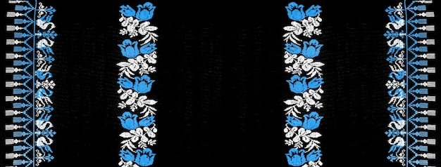Ukrainian hand embroidery embroidered folk ornament embroidery design in retro style