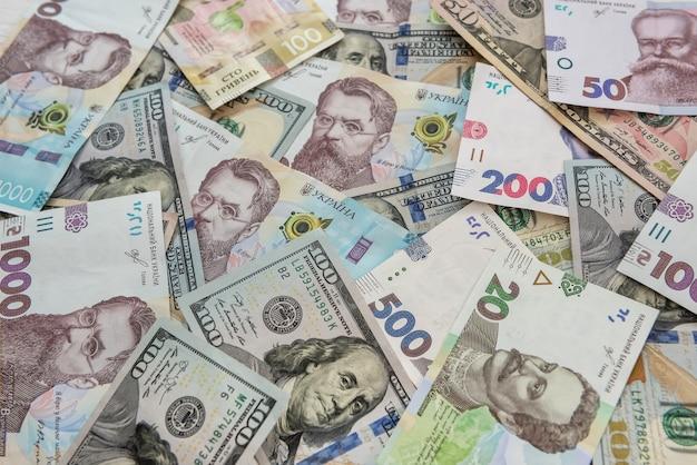 우크라이나 흐 리브 냐 및 달러 교환 확대 평면도 개념 금융 현금