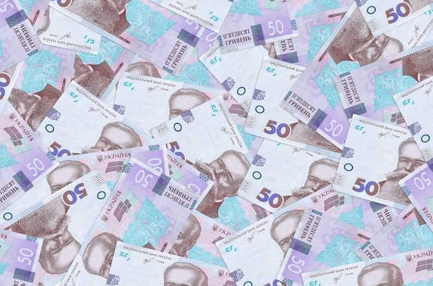 Ukrainian hryvnias bills lies in small bunch or pack isolated