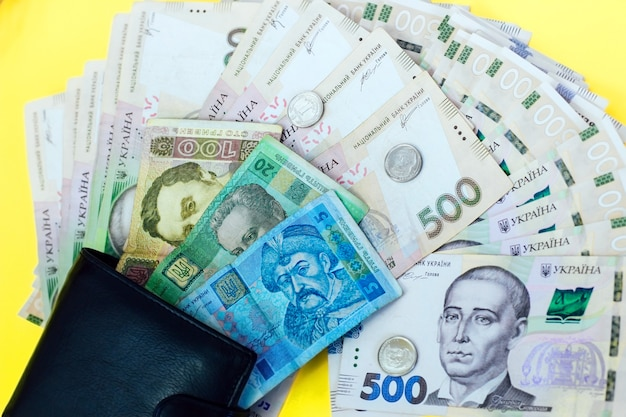 Ukrainian money hryvnia and a penny in a leather black wallet.