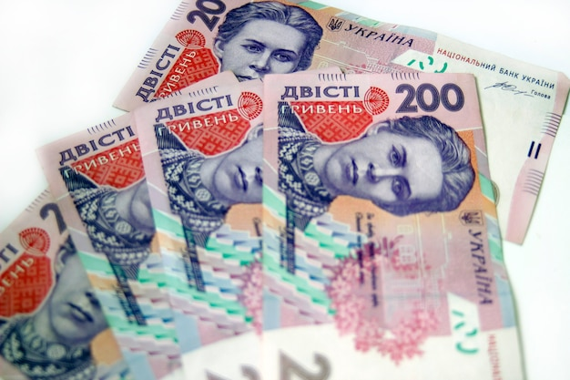 Ukrainian money hryvnia on the white background. the national currency. 200 bill or banknote. corruption in ukraine
