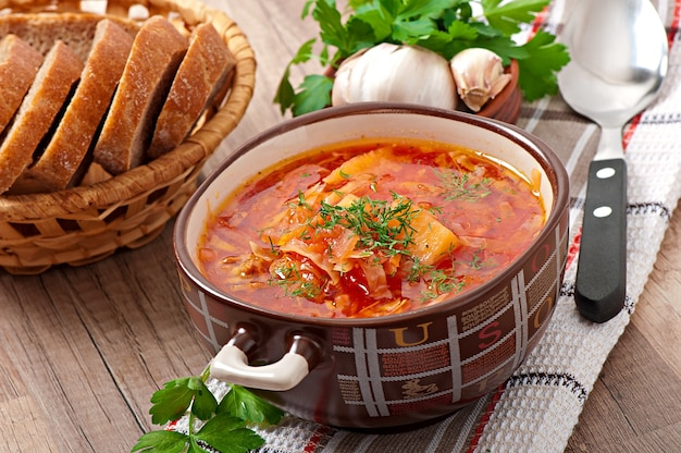 Ukrainian and russian national red soup borsch closeup
