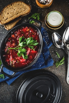 Ukrainian russian traditional hot dish - borsch soup