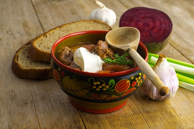 Ukrainian traditional beetroot red soup concept
