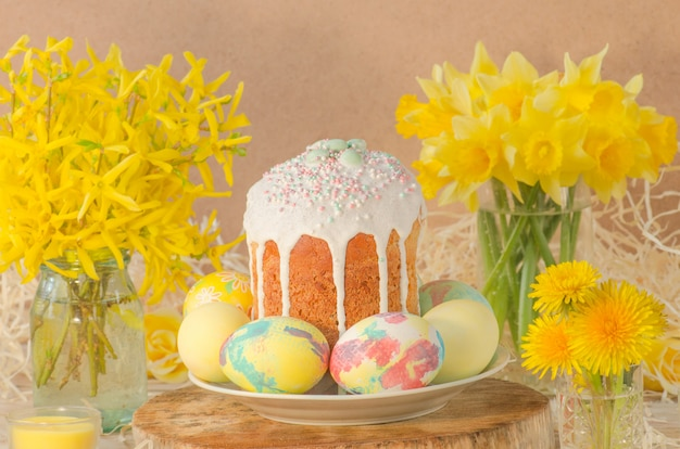 Ukrainian traditional easter bread paska or kulich.
