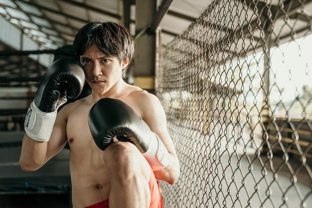 팔각형 링 근처에 무릎 킥이 서있는 권투 장갑의 궁극적 인 전투기