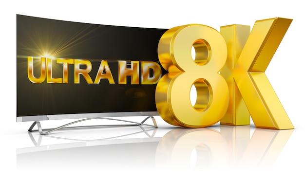 Ultra hd tv и надпись громкостью 8k