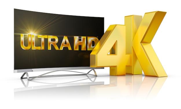 Ultra hd tv и надпись громкостью 4к