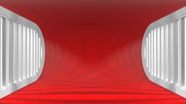 개체에 대한 창에서 광선으로 매우 현대적인 개념 빈 인테리어. 3d 렌더링.