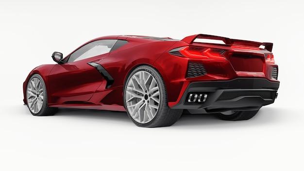 흰색 격리된 배경에 중간 엔진 레이아웃이 있는 초현대적인 빨간색 슈퍼 스포츠카. 트랙과 스트레이트에서 경주하기 위한 자동차. 3d 그림입니다.