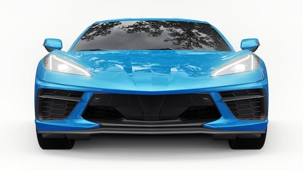 Ультрасовременный супер спортивный автомобиль со средним расположением двигателя на белом изолированном фоне. автомобиль для гонок по трассе и по прямой. 3d иллюстрации.
