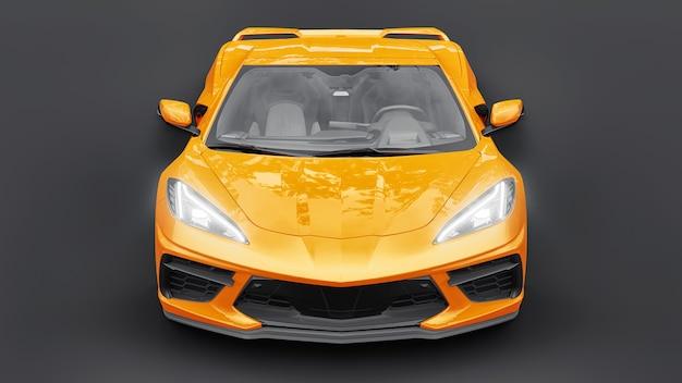 흰색 격리된 배경에 중간 엔진 레이아웃이 있는 초현대식 슈퍼 스포츠카. 트랙과 스트레이트에서 경주하기 위한 자동차. 3d 그림