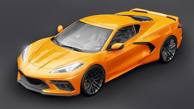 Ультрасовременный супер спортивный автомобиль со средним расположением двигателя на белом изолированном фоне. автомобиль для гонок по трассе и по прямой. 3d иллюстрация