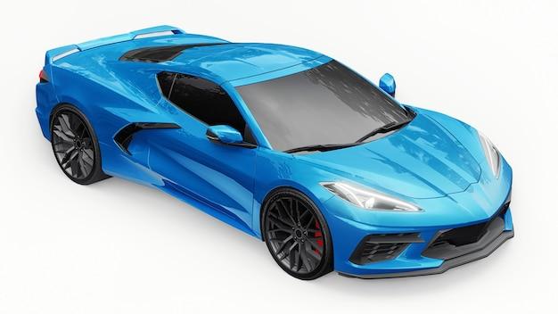 흰색 격리된 배경에 중간 엔진 레이아웃이 있는 초현대식 슈퍼 스포츠카. 트랙과 스트레이트에서 경주하기 위한 자동차. 3d 그림입니다.