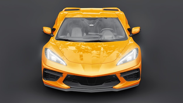 Ultra-modern super sports car with a mid-engine layout on a white isolated background. a car for racing on the track and on the straight. 3d illustration