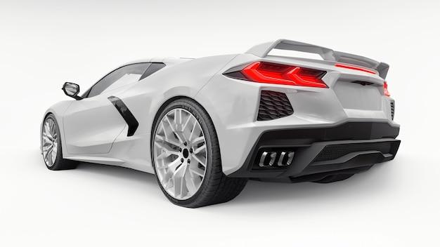 흰색 격리된 배경에 중간 엔진 레이아웃이 있는 초현대적인 흰색 슈퍼 스포츠카. 트랙과 스트레이트에서 경주하기 위한 자동차. 3d 그림입니다.