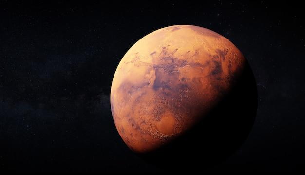 Ультрареалистичный 3d-рендеринг марса и млечного пути на заднем плане. изображение использует большие текстуры 46k для детального отображения поверхности планеты. элементы этого изображения предоставлены наса.