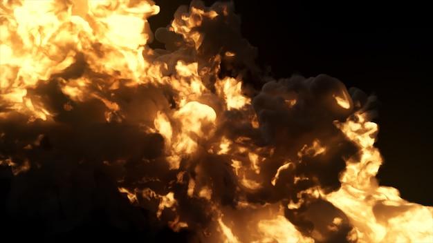 Ультрареалистичный взрыв с густым черным дымом на изолированном черном фоне