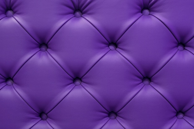Ultra violet leather sofa stitched buttons.