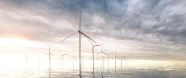 백그라운드에서 일몰 폭풍우 하늘과 해안 바람 공원의 울트라 와이드 이미지. 3d 렌더링.
