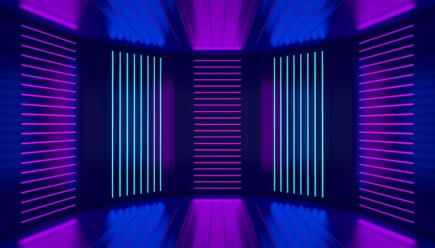 Ultraviolet podium decoration empty stage pink violet blue neon room abstract background night club interior glowing wall panels 3d illustration