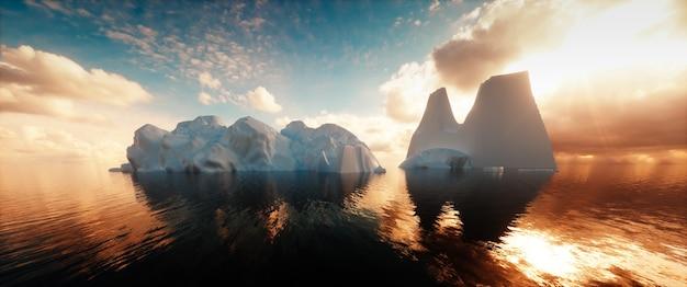 穏やかな海の氷山の超広角画像。 3dレンダリング。