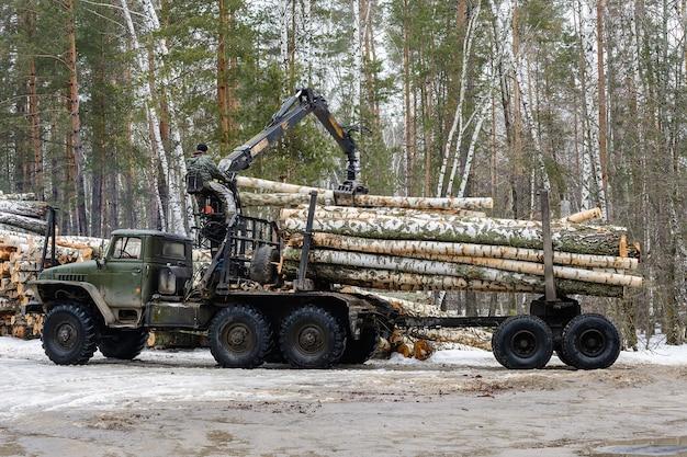 ロシア、ウリヤノフスク-2021年2月1日:木材を輸送するための特別な車両。白樺の丸太を特殊車両に積み込む。木材産業。