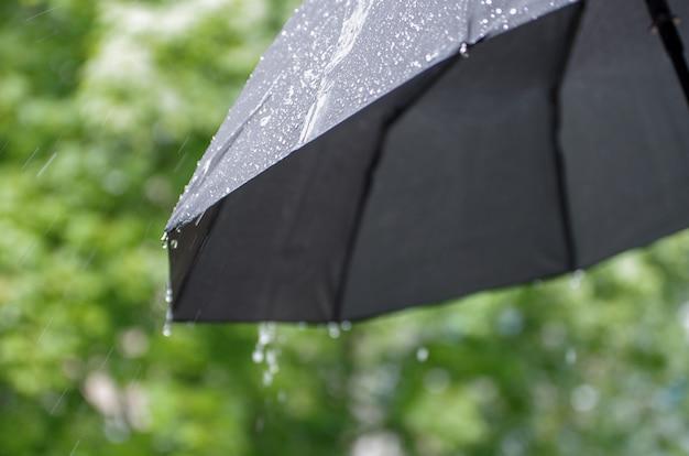 Umbrella and rain drops closeup