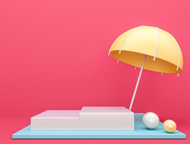 Umbrella stage with pink background, 3d rendering