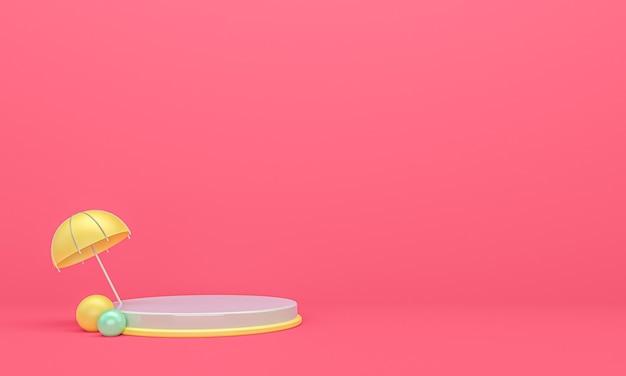 분홍색 배경, 3d 렌더링 우산 무대