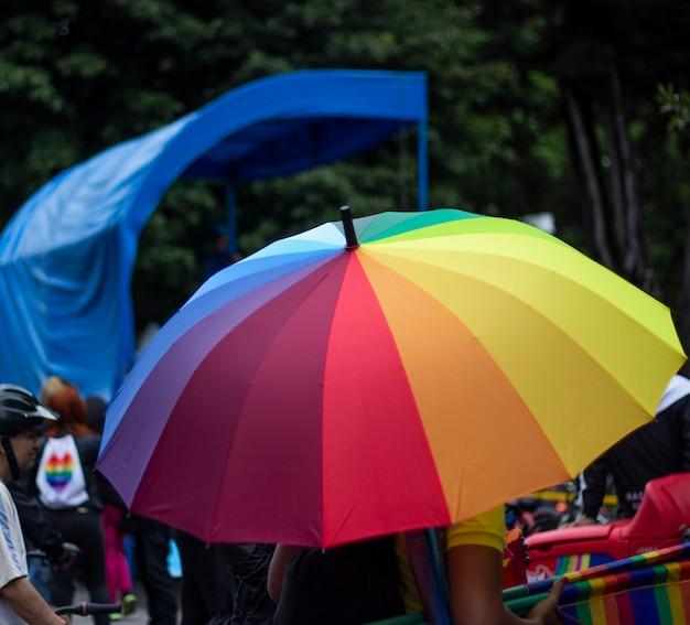Umbrella with lgbt pride colors