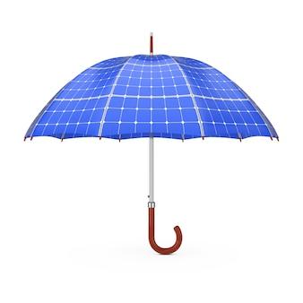 Зонт с панелями sollar на белом фоне 3d-рендеринга