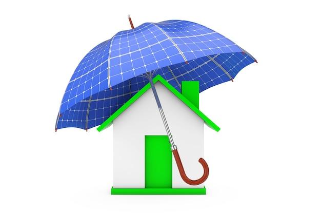 Зонт с панелями соллар над домом на белом фоне 3d-рендеринга