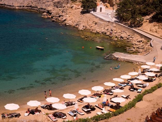 Umbrellas on beach in rhodes greece