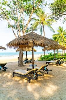 Umbrellas and deck chair at the beach