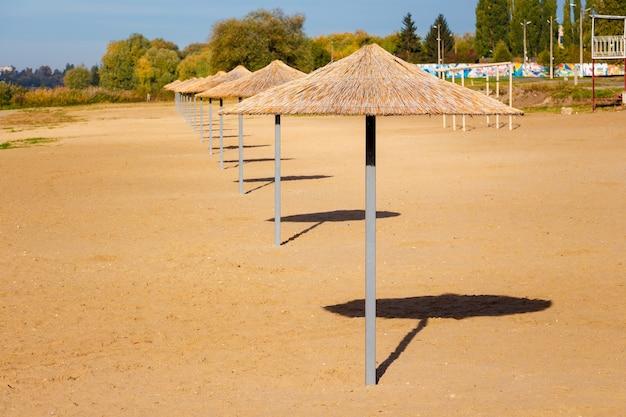 晴天時のビーチの傘、リゾートでの休暇 Premium写真
