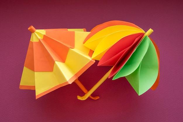 Umbrellas origami paper cut.