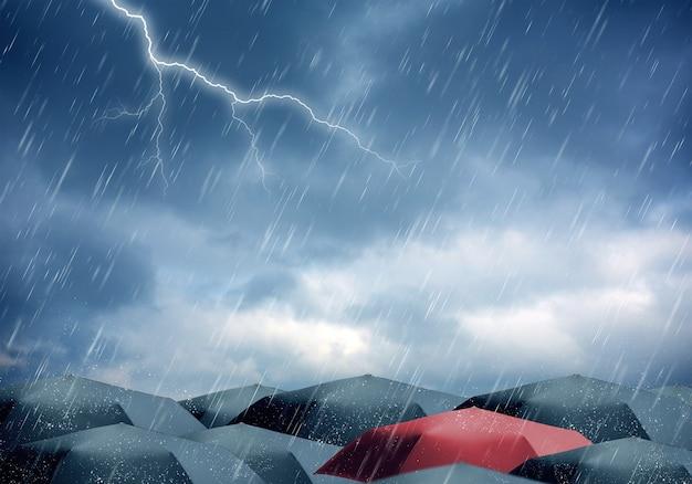 Зонтики под дождем и грозой