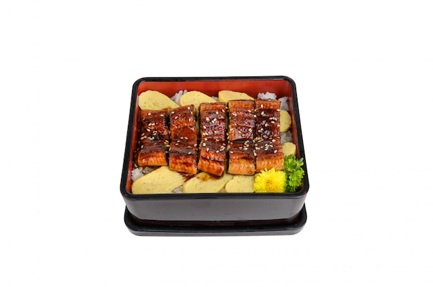 Unagi don or japanese ell grilled with kabayaki sauce and tamago in bento