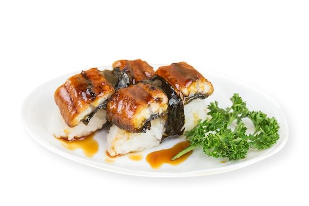 장어 초밥 세트 또는 장어 초밥, 일식 스타일. (아나고 초밥)