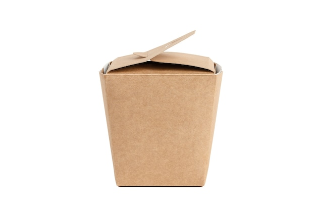 Unbranded cardboard with lid. boxing for contactless product shipping. fast food box delivery service. mockup style and copy space. blank copy space on case. package concept. isolated on white.