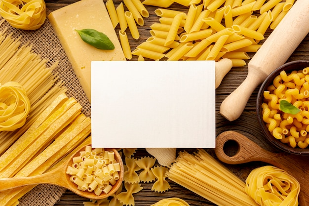 Uncooked pasta with white rectangle mock-up