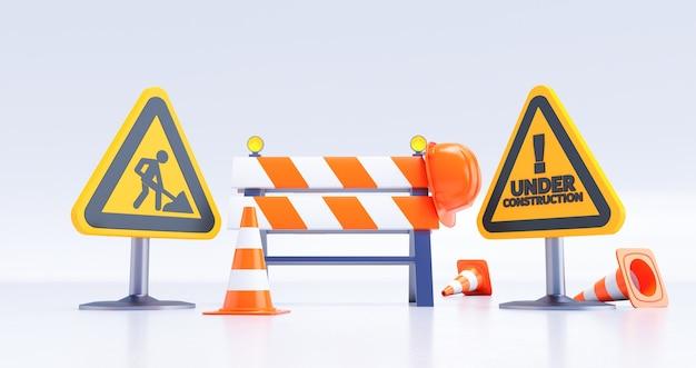 建設コンセプトの下で、建設現場、サインとコーンのある道路障壁。 3dレンダリング